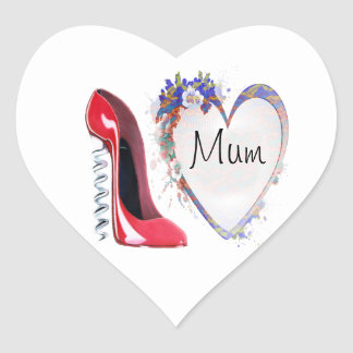 Red Corkscrew Stiletto Shoe and Floral Heart Gifts Heart Stickers
