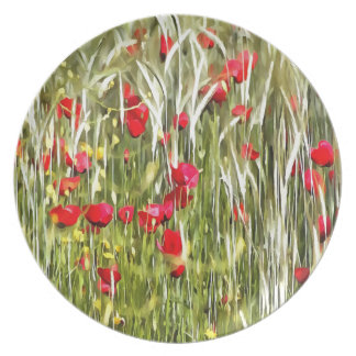Red Corn Poppies Melamine Plate