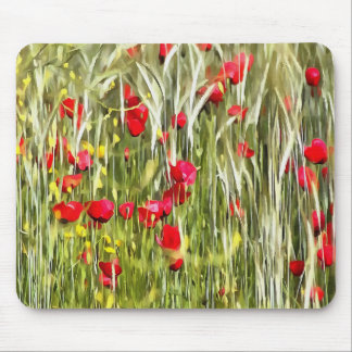 Red Corn Poppies Mouse Pad