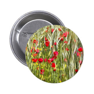 Red Corn Poppies Pinback Button