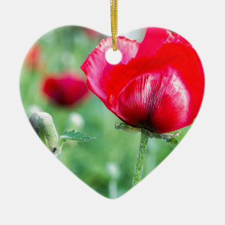 Red corn poppy with flower bud ceramic ornament