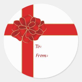 Red Corner Bow Gift Sticker