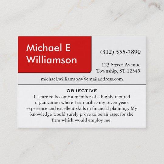 Red Corner Resume Business Cards