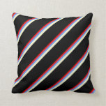 [ Thumbnail: Red, Cornflower Blue, Light Yellow & Black Colored Throw Pillow ]