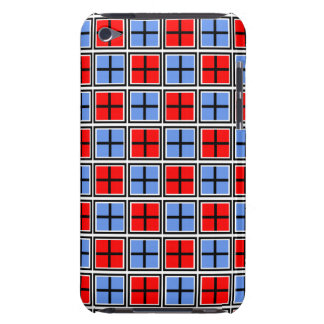 Red & Cornflower Blue  Square and Cross Pattern iPod Case-Mate Cases