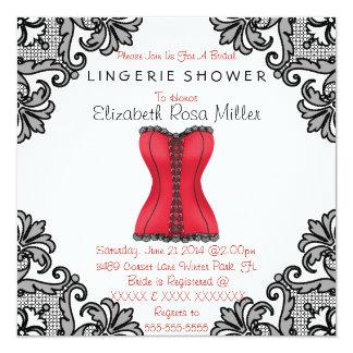 Red Corset & Black Lace Lingerie Bridal Shower Personalized Invites