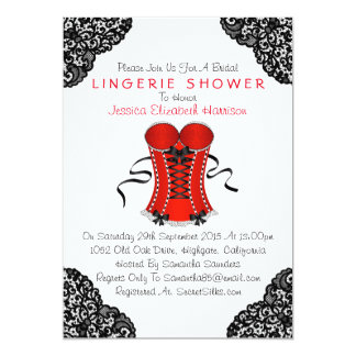Red Corset & Black Lace Lingerie Shower 5x7 Paper Invitation Card