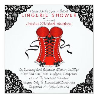 "Red Corset & Black Lace Lingerie Shower 5.25"" Square Invitation Card"