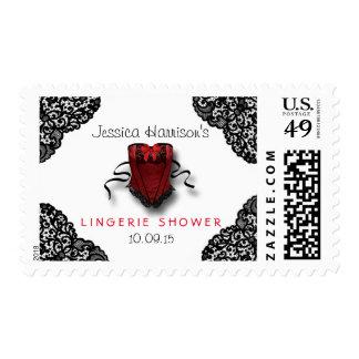 Red Corset & Black Lace Lingerie Shower Postage