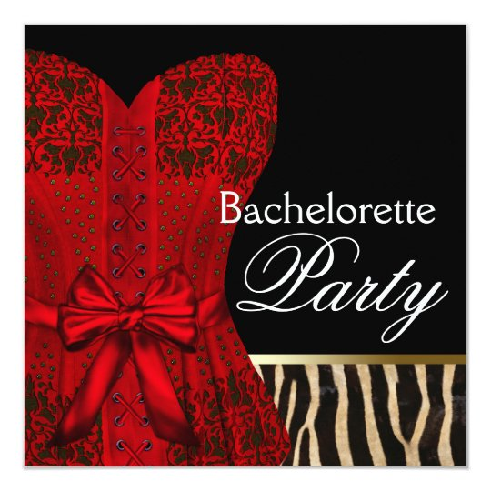 Red Corset Black Red Zebra Bachelorette Party Card