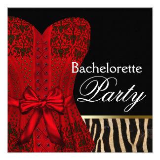 Red Corset Black Red Zebra Bachelorette Party Personalized Announcement
