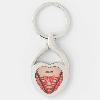 Red Corset Lingerie Brides Wedding Love Keychain