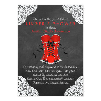 Red Corset White Lace Chalkboard Lingerie Shower 5x7 Paper Invitation Card
