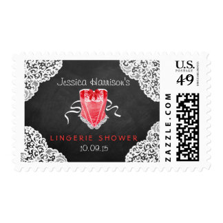 Red Corset White Lace Chalkboard Lingerie Shower Postage Stamp