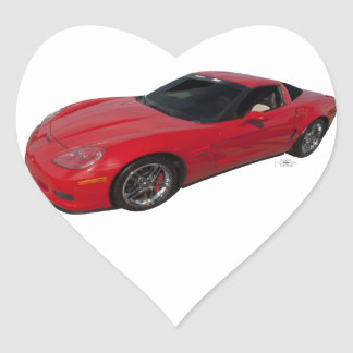 Red Corvette Heart Sticker