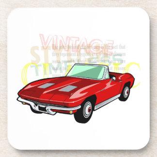 Red Corvette Stingray or Sting Ray sports car Beverage Coaster
