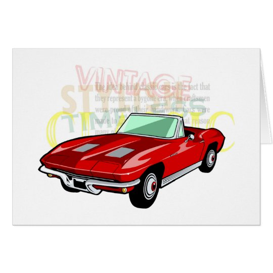 Red Corvette Stingray or Sting Ray sports car Card