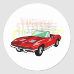 Red Corvette Stingray or Sting Ray sports car Classic Round Sticker