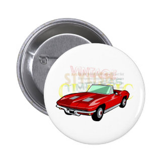 Red Corvette Stingray or Sting Ray sports car Pinback Button