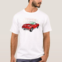Red Corvette Stingray or Sting Ray sports car T-Shirt