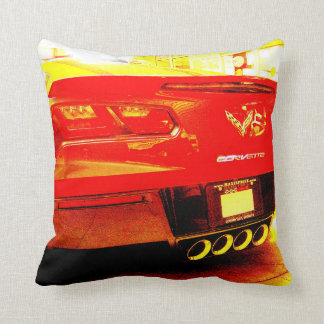 Red Corvette Stingray Rear End and Tail Lights Throw Pillow