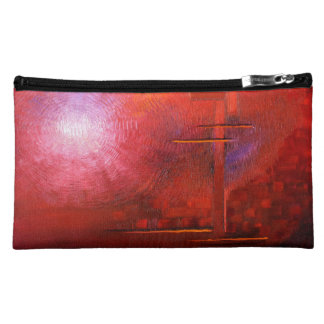 red cosmetic bag red art wristlet red mini clutch