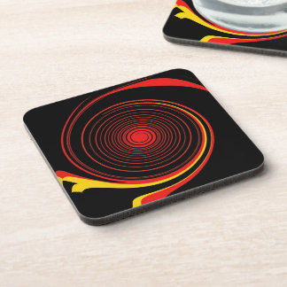 Red Cosmic Twirl Abstract Art Coaster