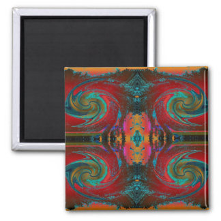 Red Cosmos Swirl 2 Inch Square Magnet