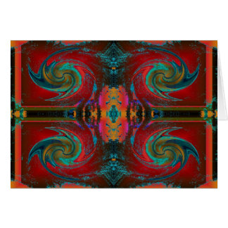 Red Cosmos Swirl Greeting Card