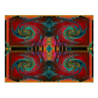red cosmos swirl postcard