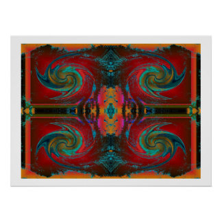 Red Cosmos Swirl Poster
