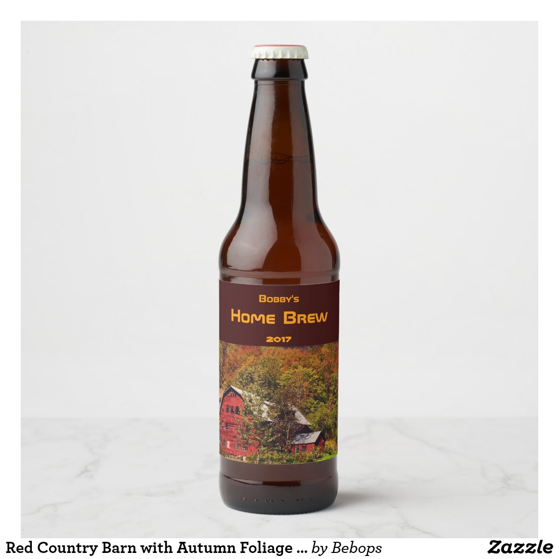 Red Country Barn with Autumn Foliage Beer Label