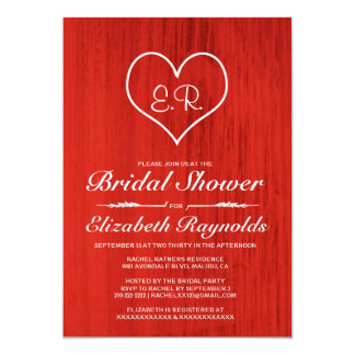 Red Country Bridal Shower Invitations