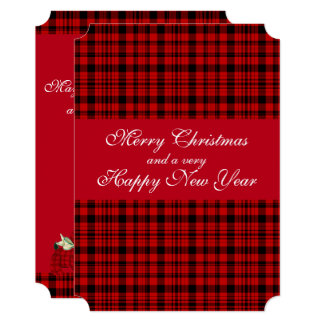 Red, Country Christmas, Plaid, Holiday Card