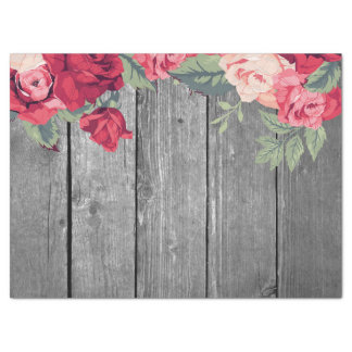 """Red Country Floral Flower on Rustic Wood 17"""" X 23"""" Tissue Paper"""