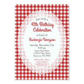 Red Country Gingham Birthday Party Invitation