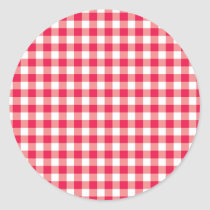 Red Country Gingham Check Pattern Classic Round Sticker