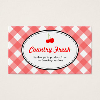 Red country gingham pattern sweet cherry produce business card