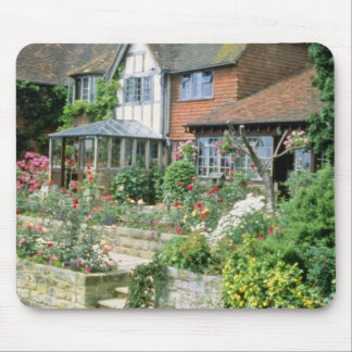 Red Country House With Mixed Border flowers Mousepad