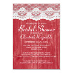 """Red Country Lace Bridal Shower Invitations 5"""" X 7"""" Invitation Card"""