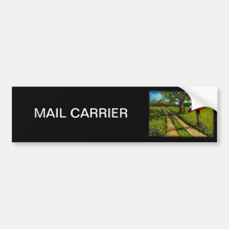 Red Country Mailbox: Oil Painting Bumper Sticker