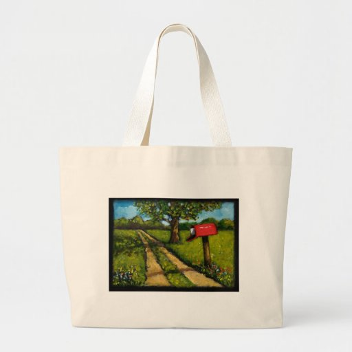 Red Country Mailbox: Oil Painting Jumbo Tote Bag
