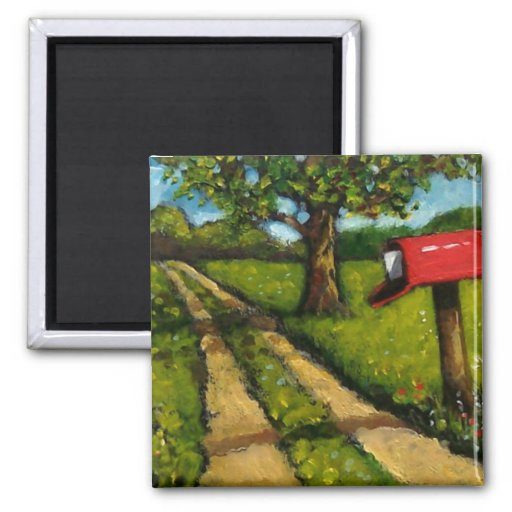 Red Country Mailbox: Oil Painting Magnets