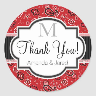 Red Country Paisley Wedding Classic Round Sticker