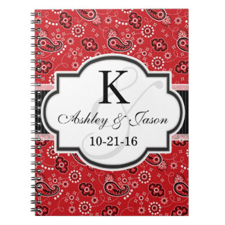 Red Country Paisley Wedding Spiral Note Book