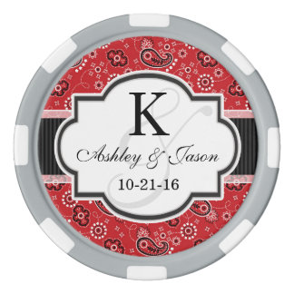 Red Country Paisley Wedding Poker Chips Set
