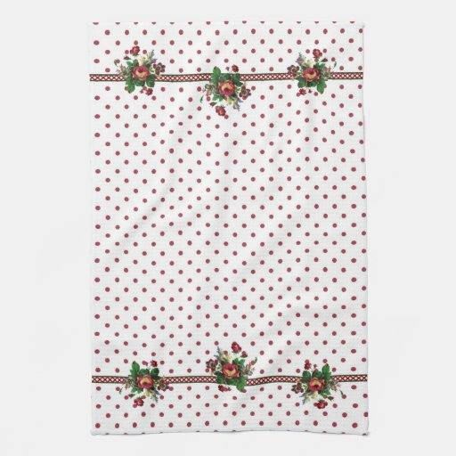 Red Country Roses Cottage Kitchen Towel
