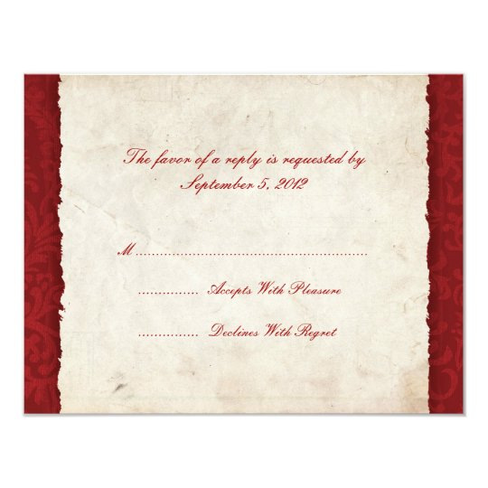 Red Country Wedding RSVP Card