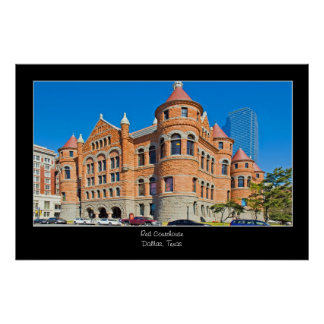 Red Courthouse Downtown Dallas Texas Poster