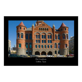 Red Courthouse Downtown Dallas Texas Posters